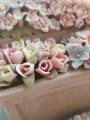 """Пусеты из белого золота """"цветок"""" с фианитами"""