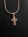 Крестик,белое и розовое золото