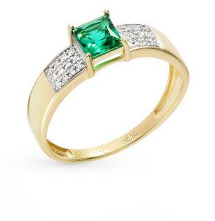 Золотое кольцо с изумрудами и бриллиантами SUNLIGHT: жёлтое золото 585 пробы, изумруд, бриллиант — купить в интернет-магазине Санлайт, фото, артикул 69933