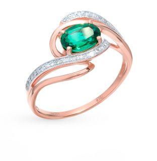 Золотое кольцо с изумрудами и бриллиантами SUNLIGHT: красное и розовое золото 585 пробы, изумруд, бриллиант — купить в интернет-магазине Санлайт, фото, артикул 69296