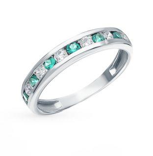 Серебряное кольцо с фианитами и изумрудами ЭСТЕТ 01К254829-2: белое серебро 925 пробы, изумруд, фианит — купить в интернет-магазине SUNLIGHT, фото, артикул 118337