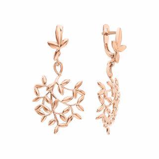 Золотые серьги DINASTIА 000922-1000: розовое золото 585 пробы — купить в интернет-магазине SUNLIGHT, фото, артикул 142985