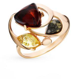 Серебряное кольцо с янтарем ЯНТАРНАЯ ВОЛНА 820261п: жёлтое серебро 925 пробы, янтарь — купить в интернет-магазине SUNLIGHT, фото, артикул 74408