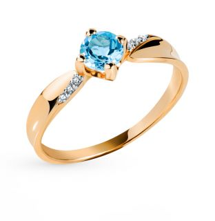 Золотое кольцо с топазами и фианитами СОРОКИН 63039700-Тп*: красное и розовое золото 585 пробы, топаз, фианит — купить в интернет-магазине SUNLIGHT, фото, артикул 75946