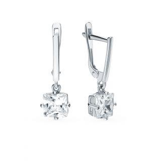 Серебряные серьги с фианитами СОРОКИН С-3519-Р: белое серебро, фианит — купить в интернет-магазине SUNLIGHT, фото, артикул 91465