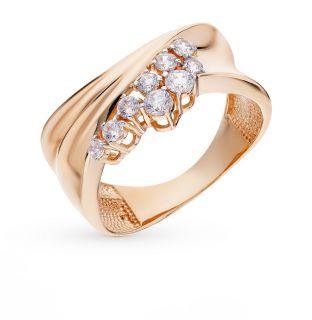 Золотое кольцо с фианитами ЮСС 20-02-0001-26227*: красное и розовое золото 585 пробы, фианит — купить в Екатеринбурге, фото, артикул 74553 — интернет-магазин SUNLIGHT