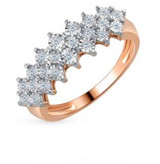 Золотое кольцо с бриллиантами SUNLIGHT: красное и розовое золото 585 пробы, бриллиант — купить в Санкт-Петербурге, фото, артикул 53651 — интернет-магазин Санлайт