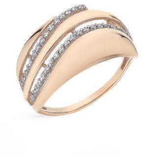 Золотое кольцо с фианитами СОРОКИН 80026700*: красное и розовое золото 585 пробы, фианит — купить в интернет-магазине SUNLIGHT, фото, артикул 66554