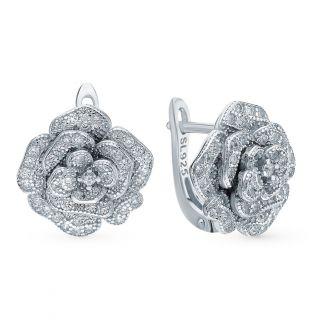 Серебряные серьги с фианитами SUNLIGHT: белое серебро 925 пробы, фианит — купить в интернет-магазине Санлайт, фото, артикул 79487