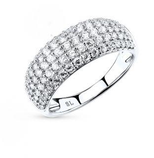 Серебряное кольцо с фианитами SUNLIGHT: белое серебро 925 пробы, фианит — купить в интернет-магазине Санлайт, фото, артикул 16064