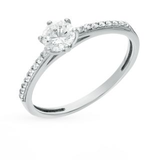 Серебряное кольцо с фианитами СОРОКИН К-2825-Р: белое серебро 925 пробы, фианит — купить в интернет-магазине SUNLIGHT, фото, артикул 49860