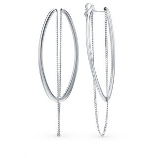 Серебряные серьги: белое серебро 925 пробы — купить в интернет-магазине SUNLIGHT, фото, артикул 108131