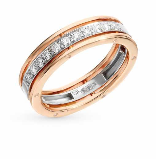 49b443d9359a Кольцо с 12 бриллиантами, 0.02 карат, 11 бриллиантами, 0.22 карат  Розовое  золото 585 пробы. −52% SUNLIGHT