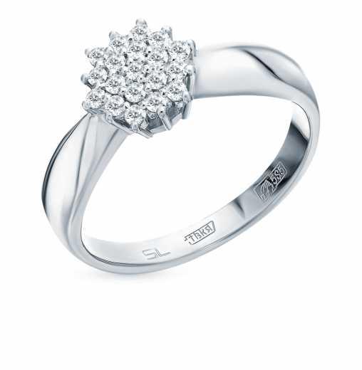 Кольцо «Бриллианты Якутии» с 19 бриллиантами, 0.21 карат  Белое золото 585  пробы −52% SUNLIGHT 7c5547723f0