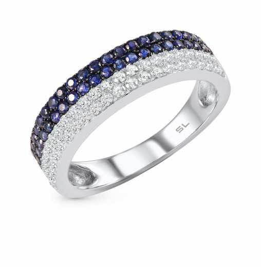8961b0dca7bc Кольцо, вставка  фианит  фианит синий  Серебро 925 пробы. −52% SUNLIGHT