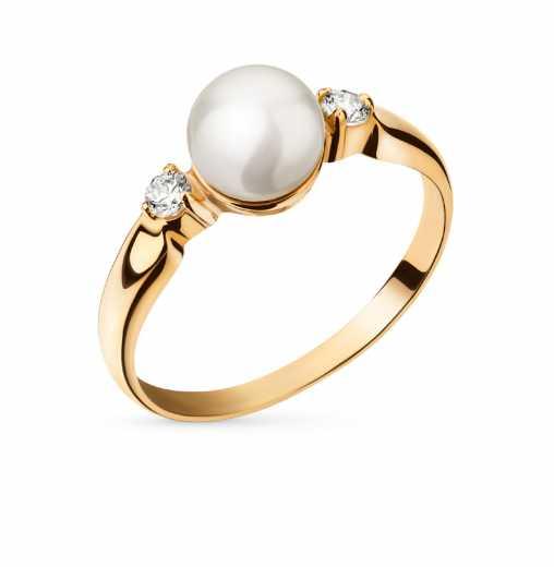 8a351fd2151a Кольцо с фианит 1 жемчугом культивированным  Розовое золото 585 пробы. −52%  ПримаЭксклюзив
