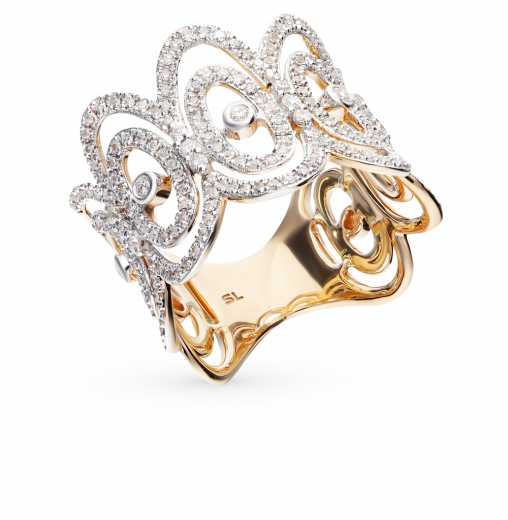 Кольцо с 17 бриллиантами, 0.15 карат, 168 бриллиантами, 0.52 карат  Розовое  золото 585 пробы. −52% SUNLIGHT dcae8f8fea2