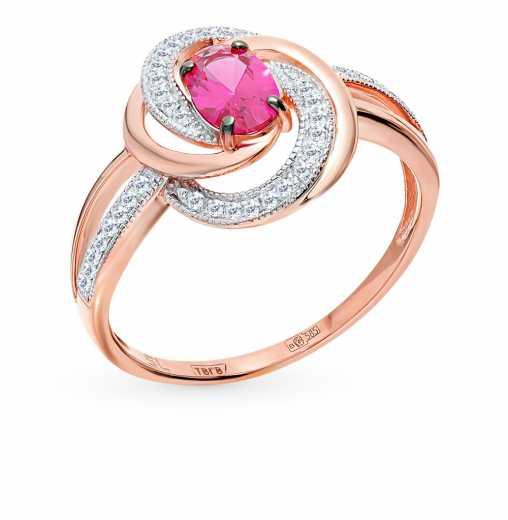 a055f22fc2a2 Кольцо с 40 бриллиантами, 0.10 карат  1 рубином синтетическим, 0.49 карат   Розовое золото 585 пробы. −52% SUNLIGHT