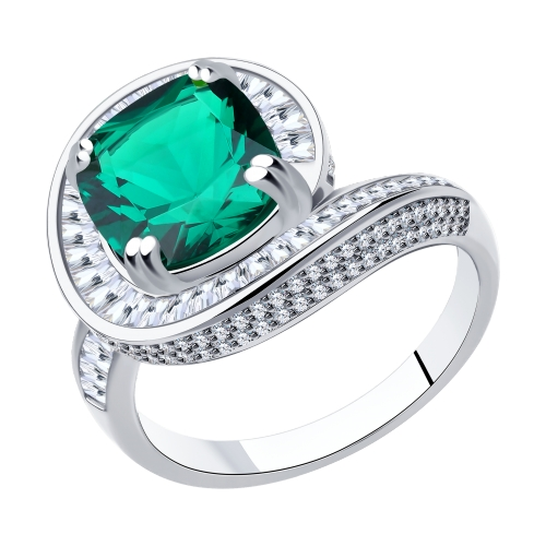 Фото «Серебряное кольцо с фианитами и ситаллами SOKOLOV 94014557»