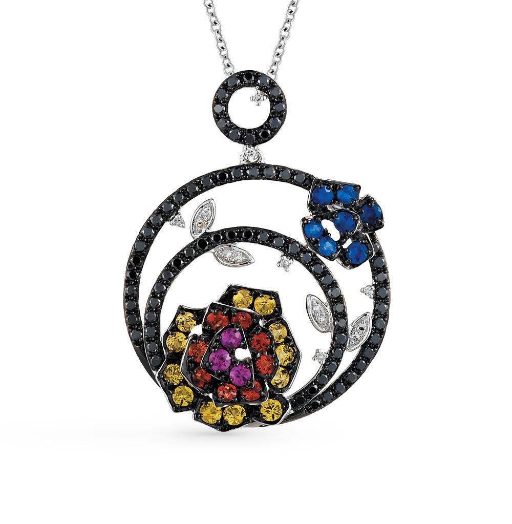 Фото «золотая подвеска с чёрными бриллиантами, рубинами, сапфирами и бриллиантами»