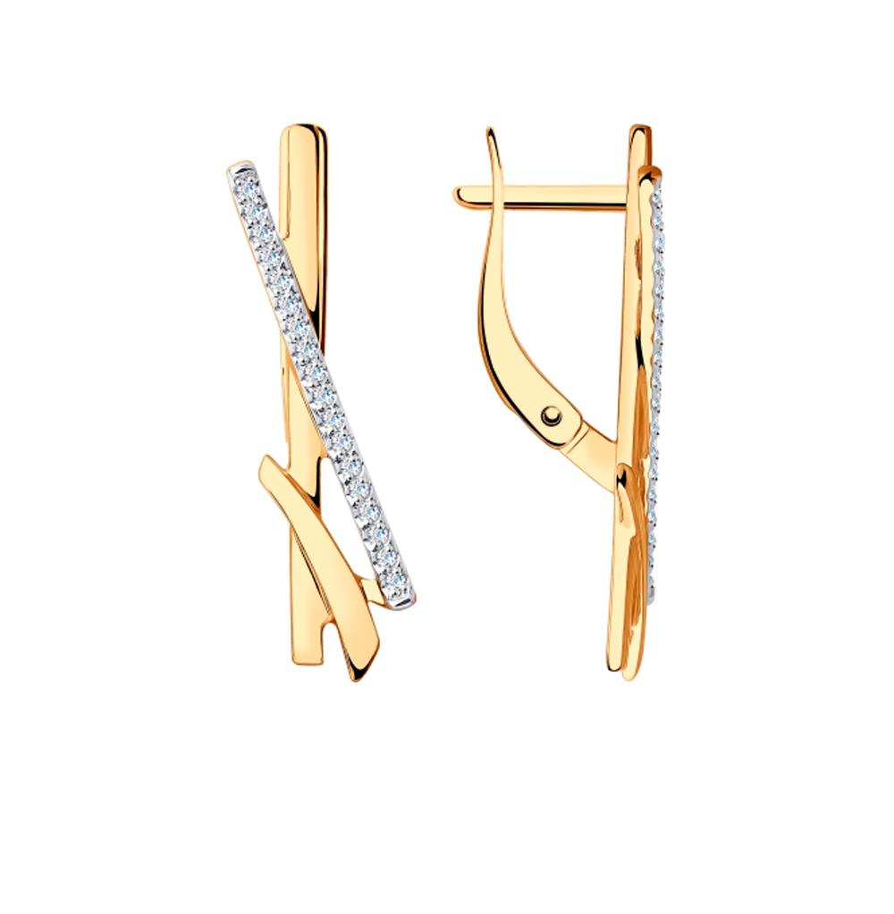 золотые серьги с фианитами SOKOLOV 028540