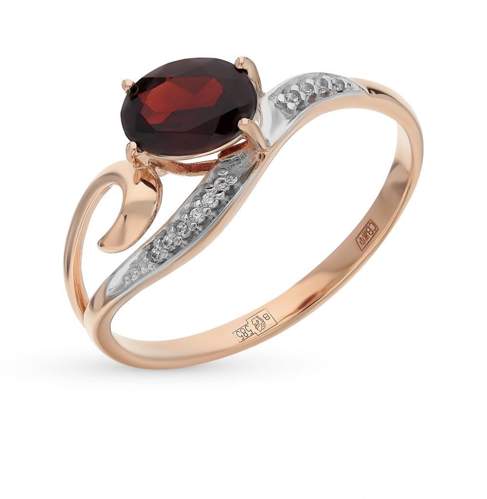 золотое кольцо с фианитами и гранатом SOKOLOV 713843*