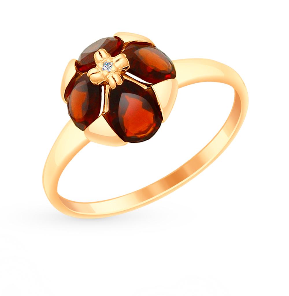 Фото «Золотое кольцо с фианитами и гранатом SOKOLOV 715021*»
