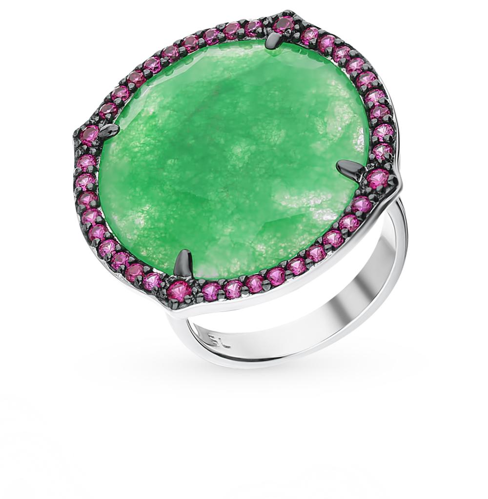 серебряное кольцо с хризопразами и корундом