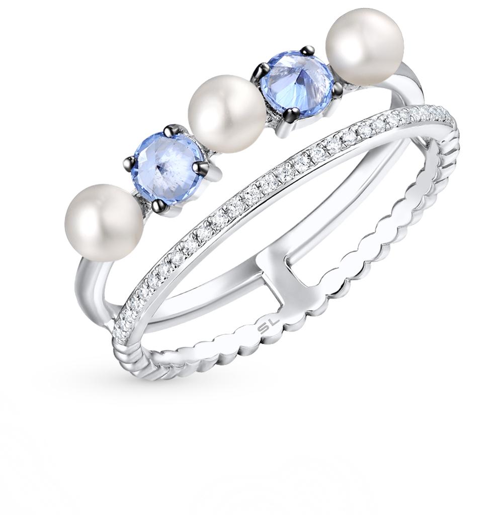 Фото «золотое кольцо с топазами, жемчугом и бриллиантами»