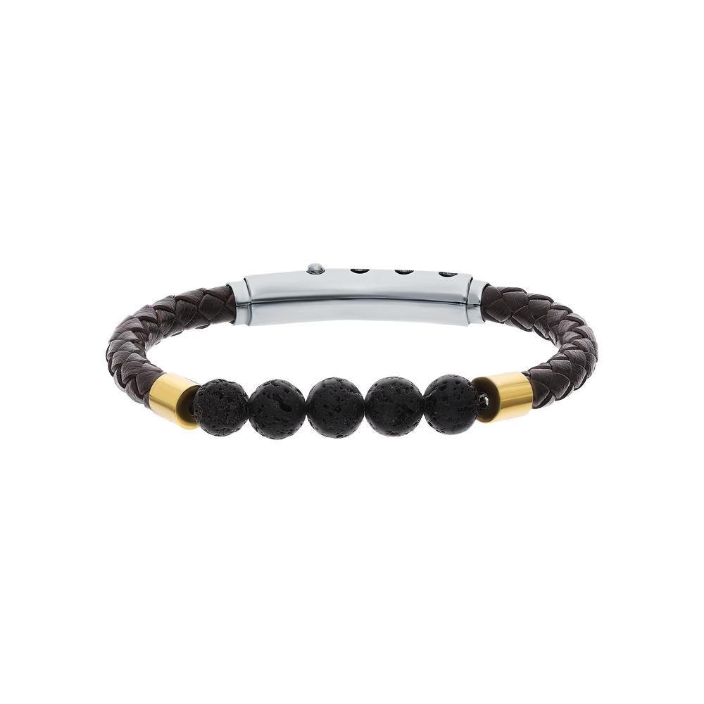 Фото «Кожаный браслет со сталью и лавовыми камнями»