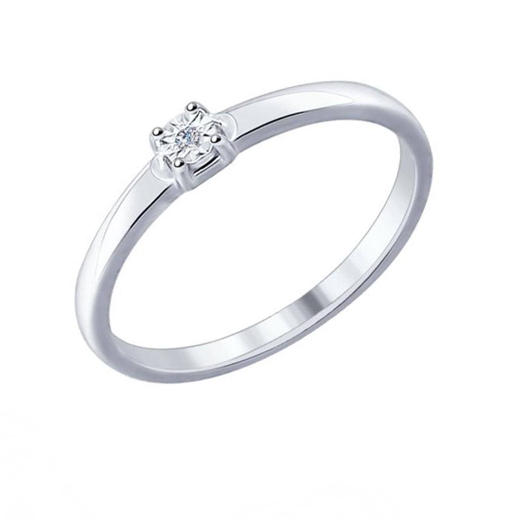 серебряное кольцо с бриллиантами SOKOLOV 87010016