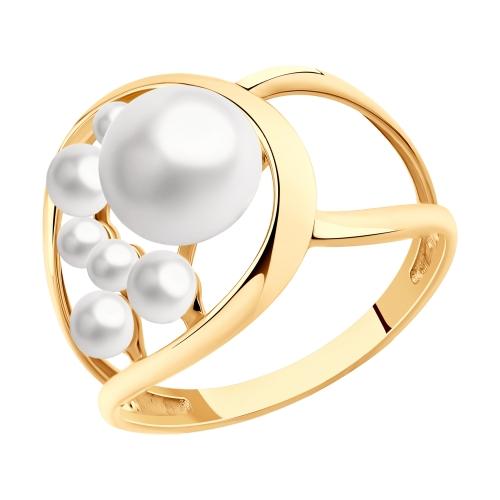 Фото «Золотое кольцо с жемчугом SOKOLOV 791153»