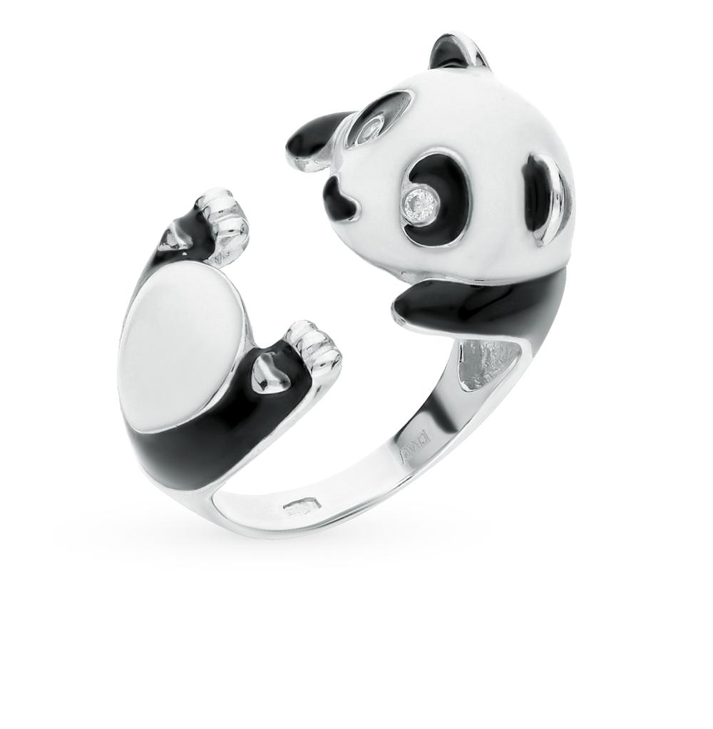 Фото «Серебряное кольцо с фианитами и эмалью SOKOLOV 94011906»