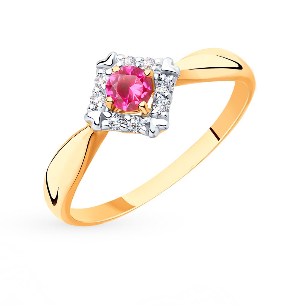 золотое кольцо с корундом и фианитами SOKOLOV 715426*