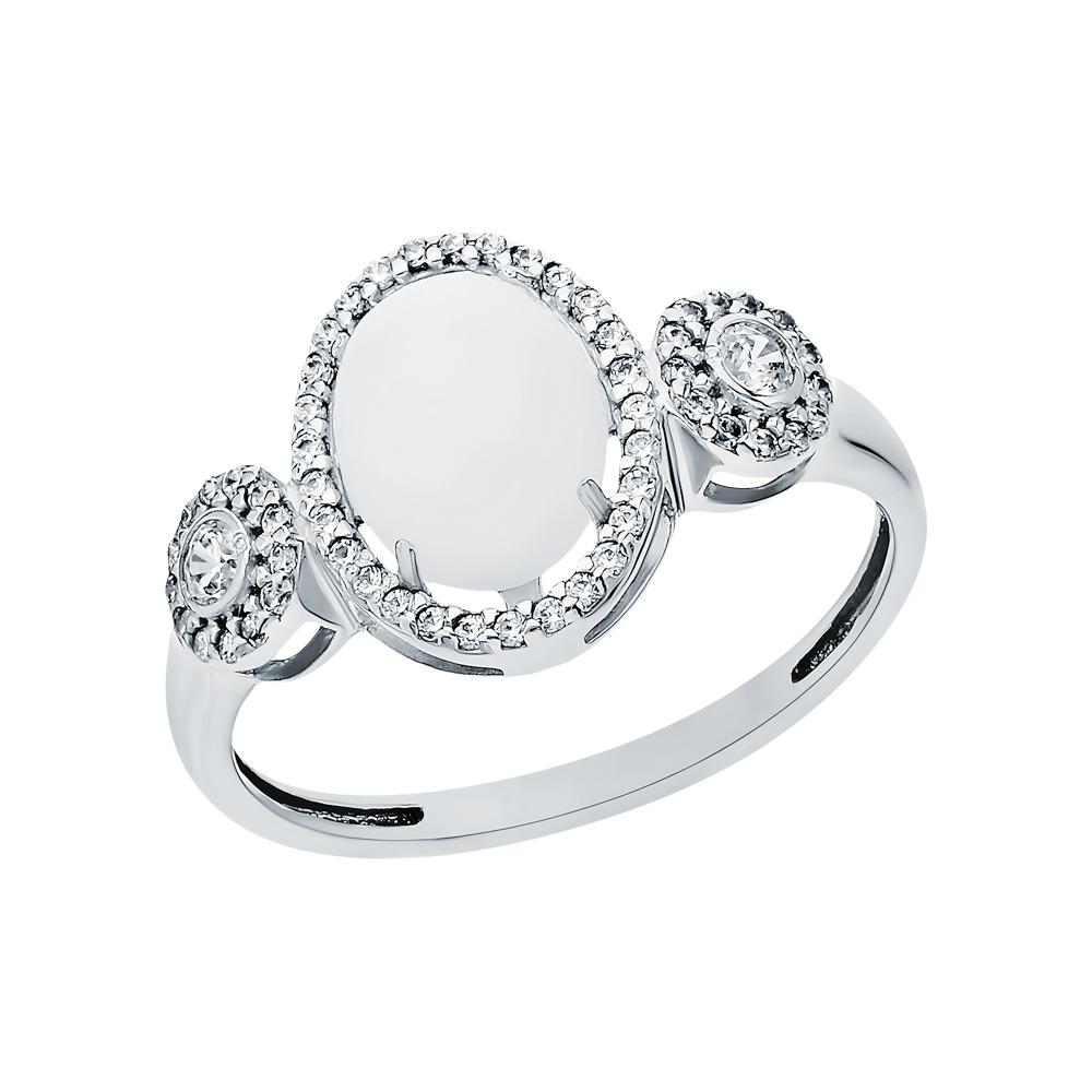 Серебряное кольцо с лунными камнями и кубическим цирконием в Екатеринбурге