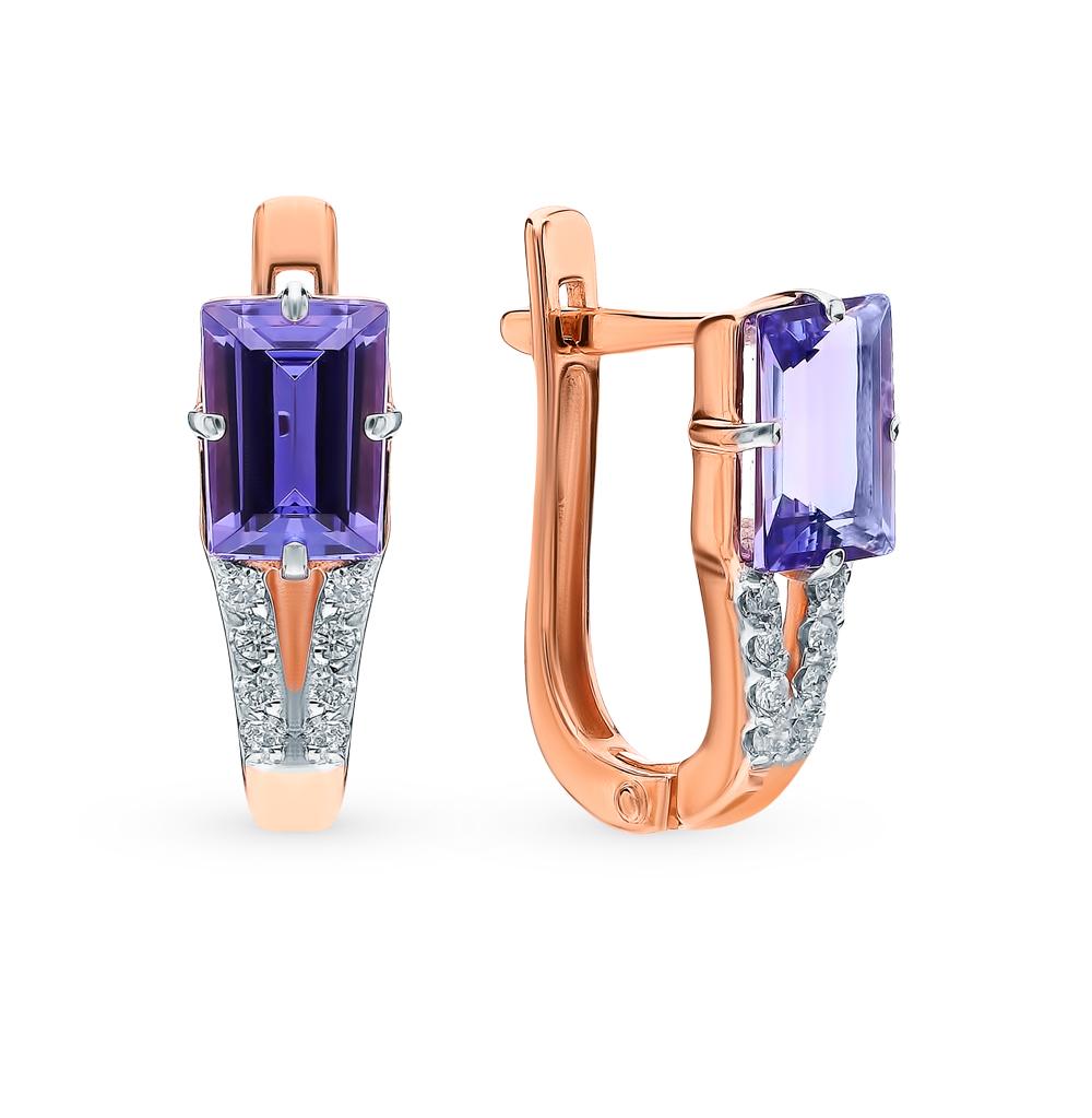 Фото «Золотые серьги с танзанитом и бриллиантами»