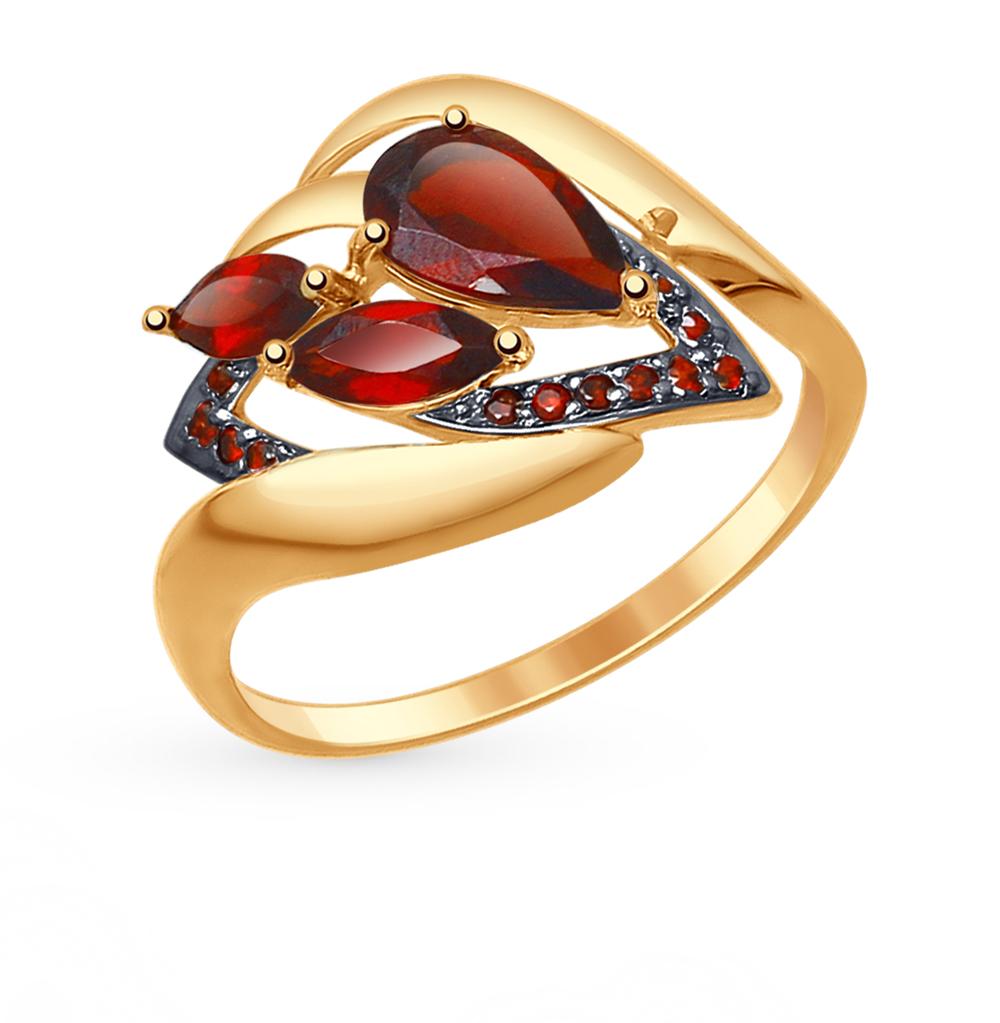 золотое кольцо с фианитами и гранатом SOKOLOV 714777*
