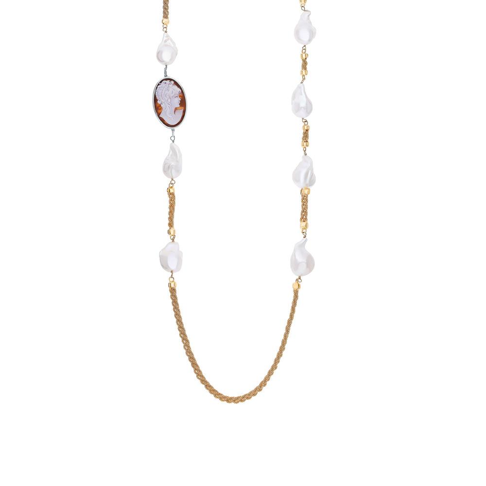 Фото «Серебряное шейное украшение с жемчугом и камеями»