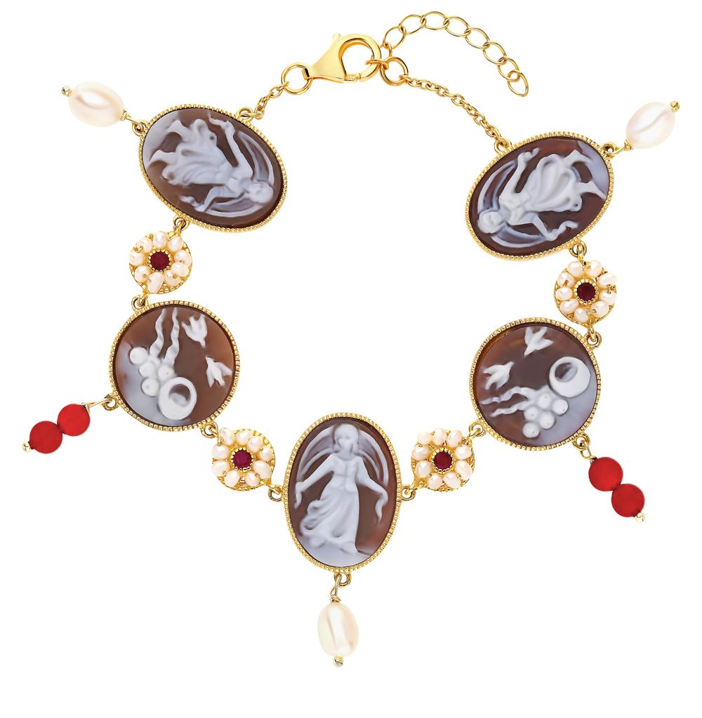 Серебряный браслет с сердоликом, рубинами, агатом и жемчугом в Екатеринбурге
