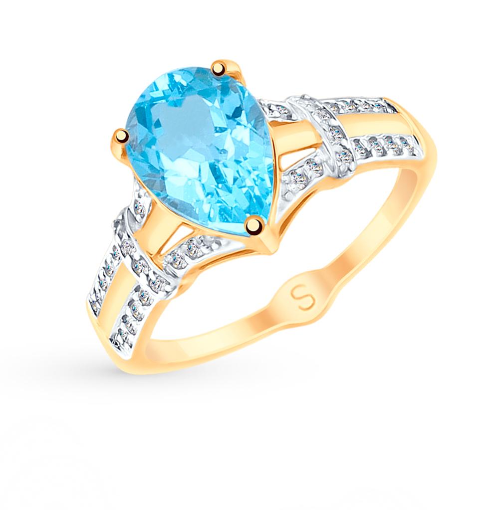 Золотое кольцо с топазами и фианитами SOKOLOV 715101* в Санкт-Петербурге