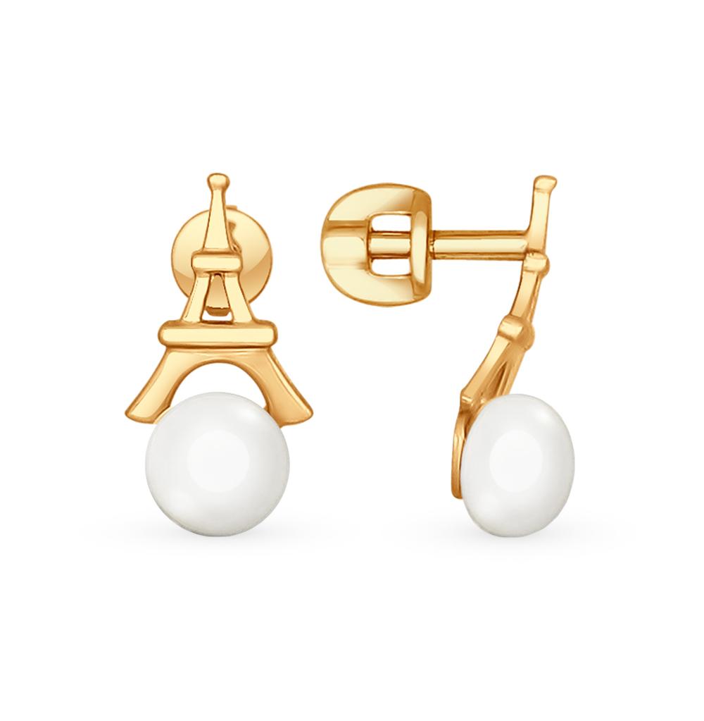 золотые серьги с жемчугом SOKOLOV 792061*