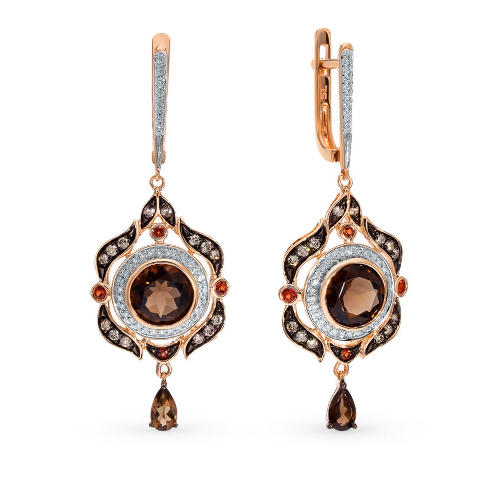 Золотые серьги с коньячными бриллиантами, раухтопазами и гранатами в Екатеринбурге