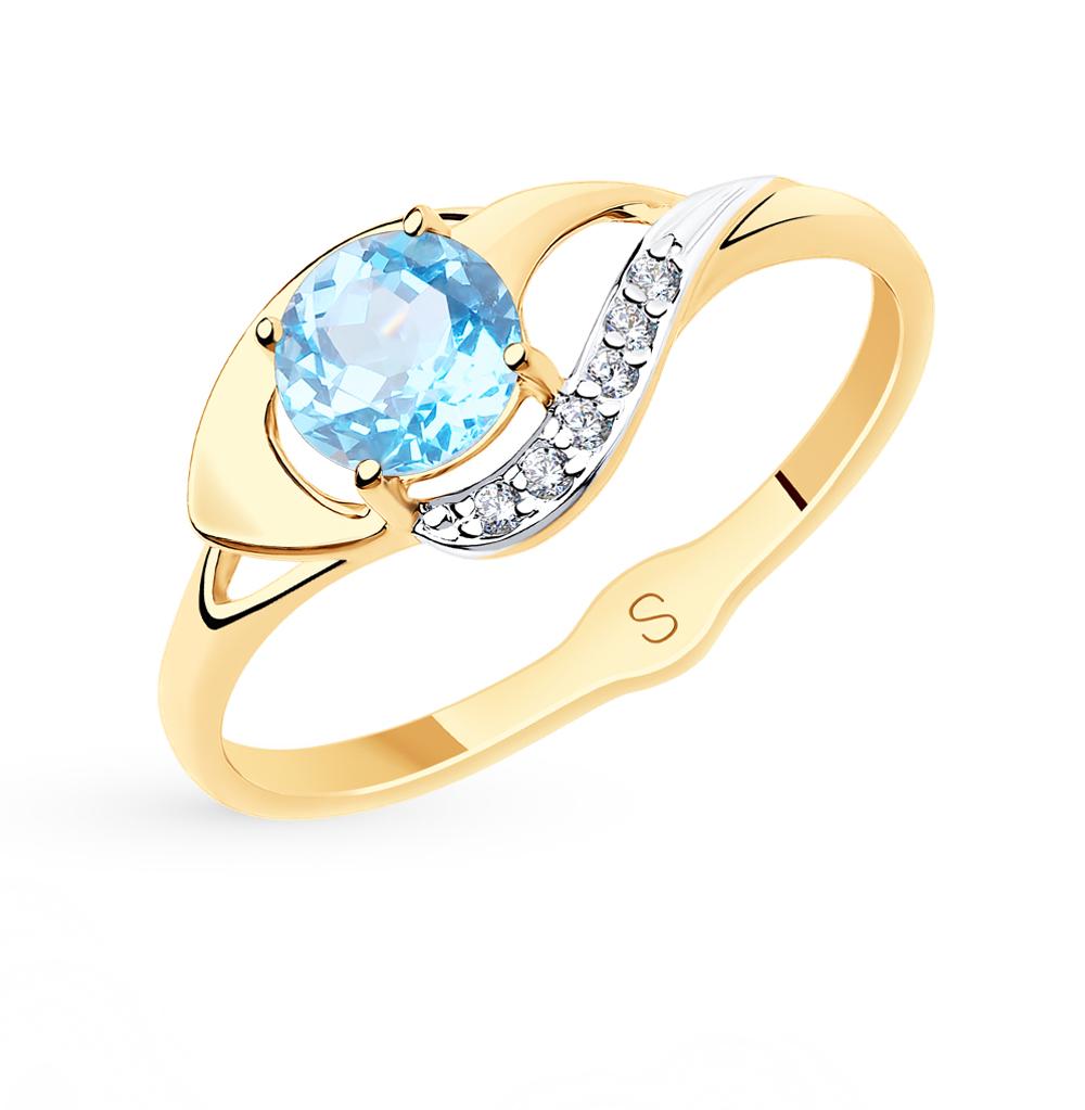 Золотое кольцо с топазами и фианитами SOKOLOV 715570* в Екатеринбурге