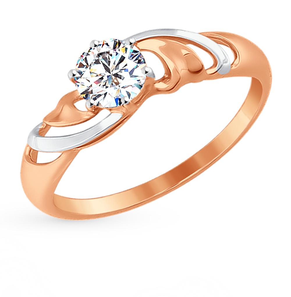 золотое кольцо с фианитами SOKOLOV 017300*