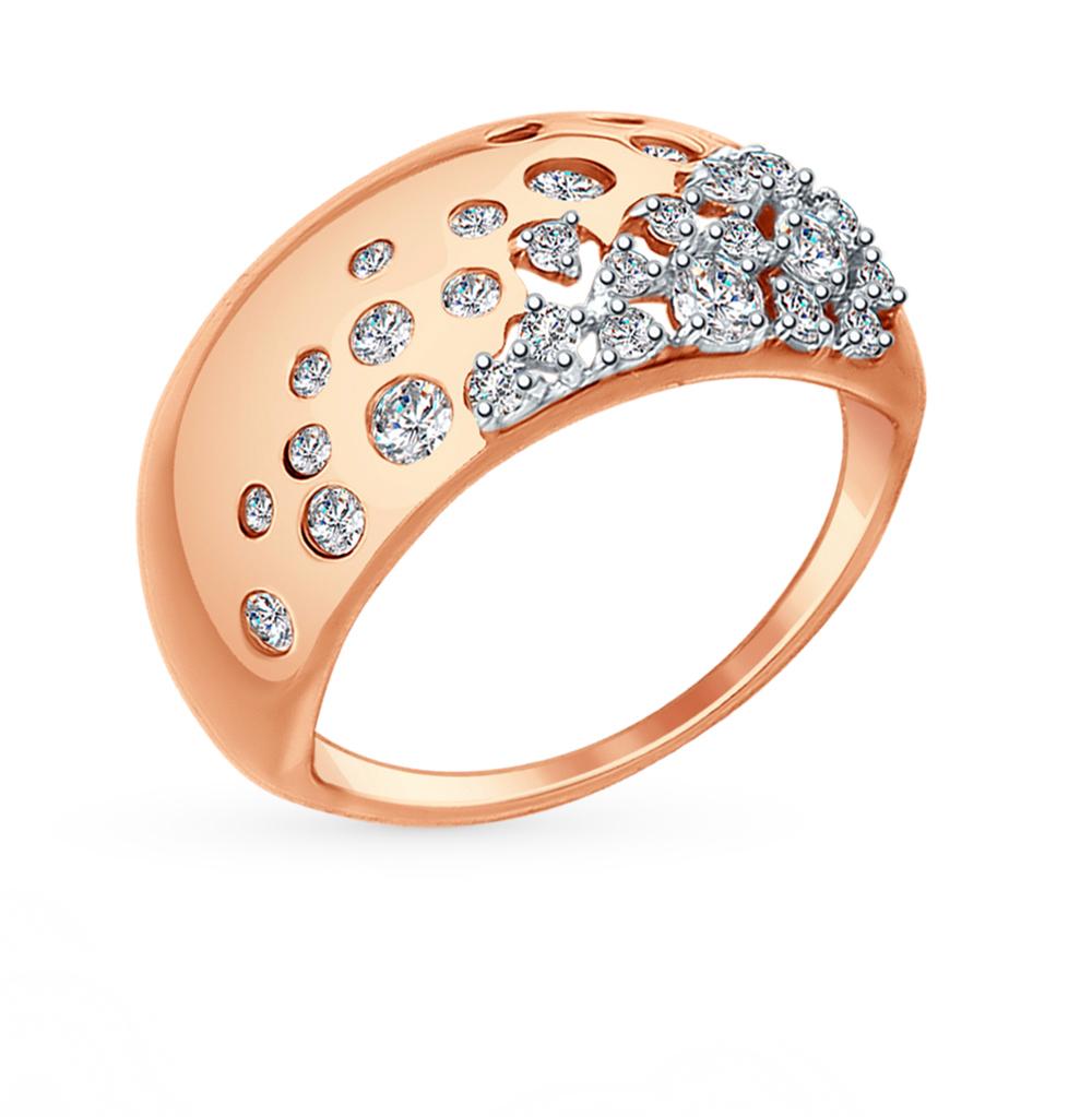 золотое кольцо с фианитами SOKOLOV 017411*