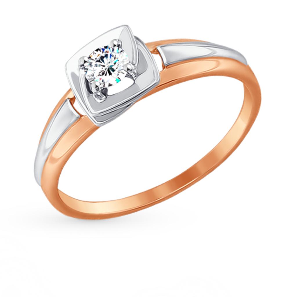 золотое кольцо с фианитами SOKOLOV 017453*
