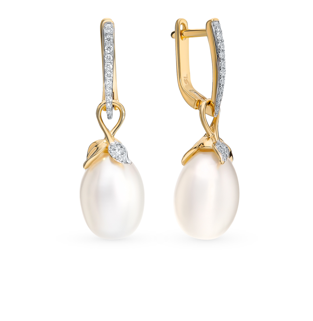 Фото «Золотые серьги с жемчугом и бриллиантами»