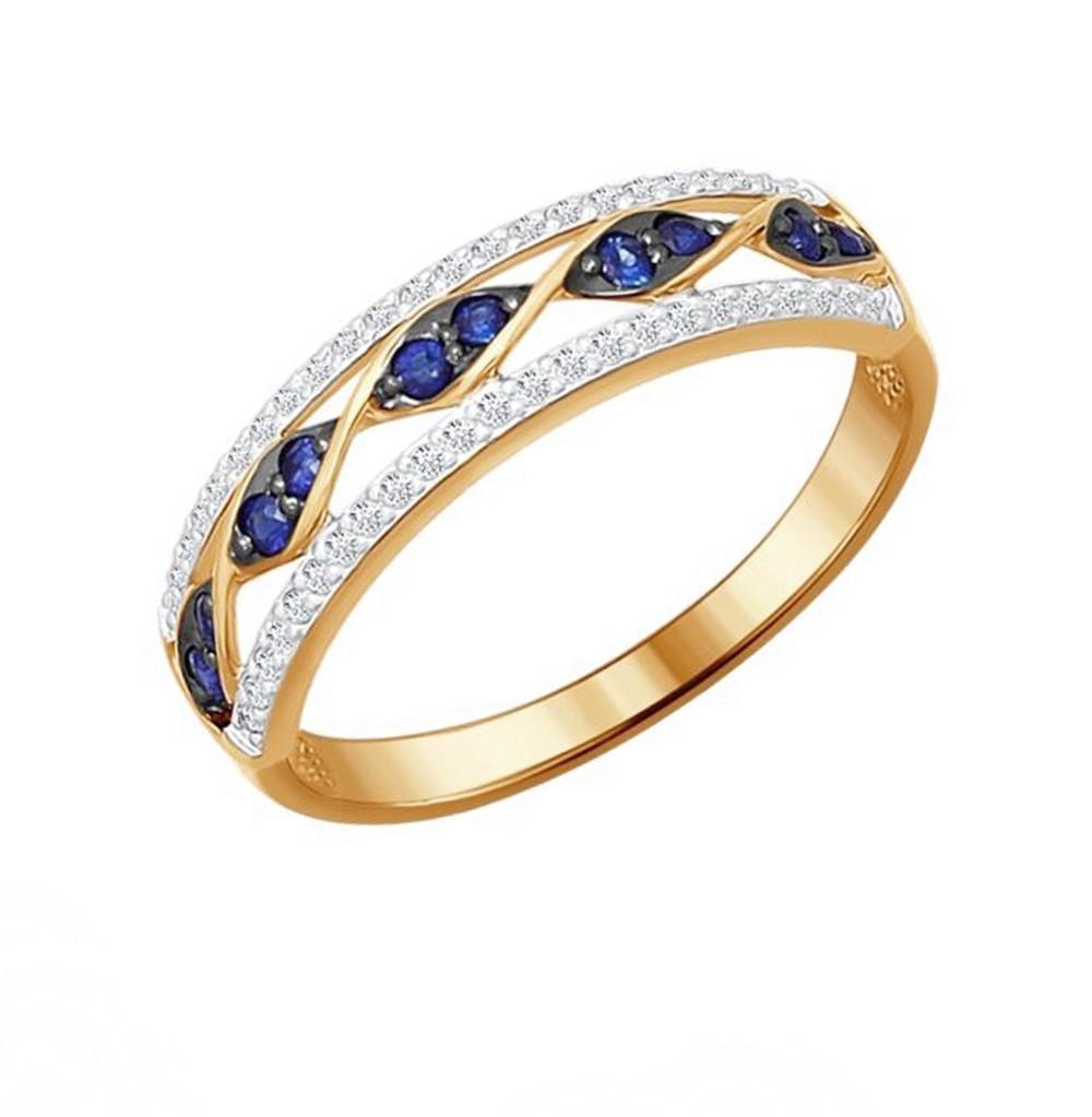 Фото «Золотое кольцо с сапфирами и бриллиантами SOKOLOV 2011029»