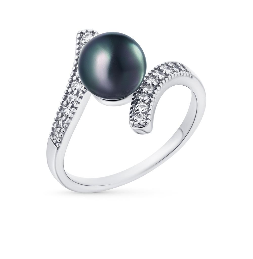Фото «серебряное кольцо с фианитами и жемчугами имитациями»