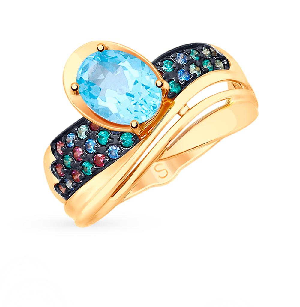 золотое кольцо с топазами и фианитами SOKOLOV 715237